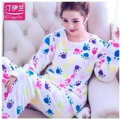 2017 Autumn Winter Womens Pajama Sets O-Neck Long Sleeve Women Sleepwear Pajamas Girls Woman Pyjama Femme Home Wear Clothes