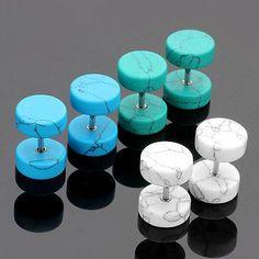 Cracked color fake plug gauge barbell earring