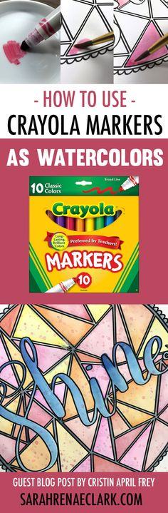 In this coloring tutorial, Cristin will show you how to create beautiful watercolor effects using cheap Crayola markers and water. Check out the step-by-step photos and video tutorial, plus other adult coloring hacks at www.sarahrenaeclark.com   How to us