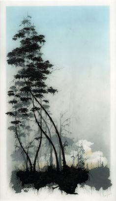 Brooks Salzwedel ~ Hand drawn graphite on Duralar cast in layers of resin. Colour made using layers of transparent tape. Artist is Brooks Salzwedel. Encaustic Art, Wow Art, Art Graphique, Tree Art, Watercolor Paintings, Watercolor Trees, Watercolors, Painting & Drawing, Tape Painting