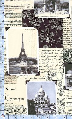 April in Paris - Vintage Photographs and Sheet Music Collage - BACK IN STOCK! - Black and White, Elkabee's Fabric Paradise.com, LLC