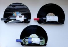 Upcycled Vinyl Record Wine Rack Wall Organizer  Set by MovieVinyl, $16.99