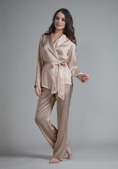 22 momme contrast trim silk pajamas set | Pajamas women, Note and Bags