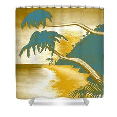 Tropical Vibes Shower Curtain by Faye Anastasopoulou. This shower curtain is made from polyester fabric and includes 12 holes at the top of the curtain for simple hanging. The total dimensions of the shower curtain are wide x tall. Beautiful Modern Homes, Ocean Scenes, Fancy Houses, Pattern Pictures, Curtains With Rings, Curtains For Sale, Tropical Vibes, Tag Art, Home Decor Items