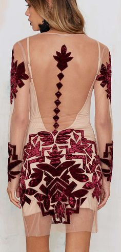 Velvet burgundy burn out dress