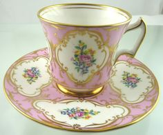 BLUSH ROSES REGAL TEA CUP & SAUCER BY ROYAL CHELSEA