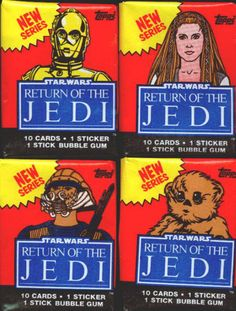 """1983 Topps Star Wars The Return of the Jedi Wax Pack Wrapper Set: 2nd Series, complete set of 4 different """"New Series"""" wax pack wrappers; plus sticker #36 NM (Han Solo). All wrappers have regular fold lines, but no tears and have been stored opened flat. All for $9"""