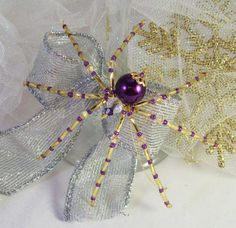 Beaded Purple Christmas Spider Ornament with by Thespiderlady, $8.00