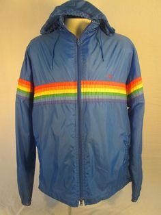 Vintage 70s OP Ocean Pacific Blue Rainbow Stripe Light Jacket Sailing Hiking XL
