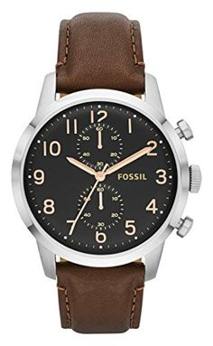 Fossil Mens FS4873 Townsman Stainless Steel Watch With Brown Leather Band -- Click on the image for additional details. (Note:Amazon affiliate link)