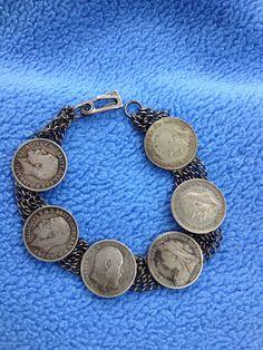 Vintage British Silver Coin Bracelet 1930s by mimisvintageshop, $45.00