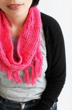 crochet pattern Fringe cowl. I'd probably make it twice as long to double up
