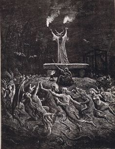 Illustration by Emile Bayard for Histoire de la magie (History of magic) by Paul Christian Gustave Dore, Arte Horror, Horror Art, Norman Rockwell, Witchcraft, Magick, Satanic Art, Arte Obscura, Occult Art