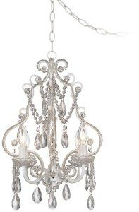 Amazon.com: White With Crystal Accents Plug-In Swag Chandelier: Lamps & Light Fixtures
