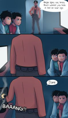 This is hilarious!!! I love Jon's cute little face and that one particular finger of Damian XD  Please check out the deviant art account of this amazing artist!!!! OtterTheAuthor