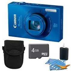 Canon PowerShot ELPH 520 HS Blue 10.1 MP CMOS Digital Camera 12x Zoom 4 GB Bundle by Canon. $199.00