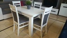 New Extending white table white chairs sold separately or as a set great size Dining Furniture Sets. offers on top store Round Wood Dining Table, Modern Dining Table, Extendable Dining Table, White Dining Set, Corner Tv Unit, Dining Furniture Sets, Solid Wood, White Chairs, Ice Cream