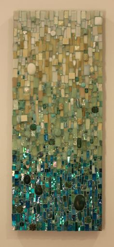 A commissioned mosaic piece . custom mosaic wall art by Ariel Shoemaker. It looks like there could be dichroic glass, especially at the bottom. Glass Wall Art, Stained Glass Art, Mosaic Glass, Mosaic Tiles, Fused Glass, Dichroic Glass, Mosaic Mirrors, Mosaic Bathroom, Blue Mosaic
