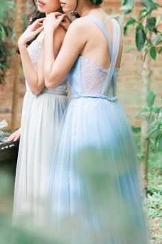 Periwinkle blue and dove grey wedding gowns / evening gowns fit for the princess bride // Luxuriant Indoor Garden Wedding Inspiration at Glasshouse, Kuala Lumpur – Part 2