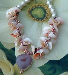 Chunky Horn Shells and Agate Druzy/Drusy Geode Necklace #250 | GracefulDesigns - Jewelry on ArtFire