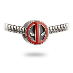 Stainless steel Deadpool logo charm bead.