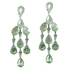 Green Fluorite Chandelier Earrings ($275) ❤ liked on Polyvore featuring jewelry, earrings, gioielli, nakit, dangling jewelry, chandelier jewelry, green teardrop earrings, pyramid jewelry and green tear drop earrings