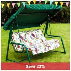 greenfingers premium 3 seater padded swing seat hammock   leaf patio swing seat 3 seater padded hammock garden outdoor balcony      rh   pinterest
