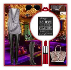 """""""Set #1224 - The Club"""" by the-walking-doctor ❤ liked on Polyvore featuring Helmut Lang, MARC LE BIHAN, Universal Lighting and Decor, Ray-Ban, Luichiny, Prada and LG"""
