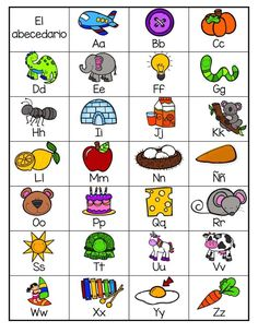 ABC chart for beginning reader's. Introduce in September. Preschool Spanish, Learning Spanish, Kids Learning, Learning Cards, Spanish Classroom, Spanish Lessons, Leveled Literacy Intervention, Reading Intervention, Alphabet Activities
