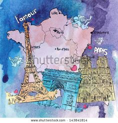 Hand drawn watercolor background with french motive. Vector illustration. by R_lion_O, via ShutterStock
