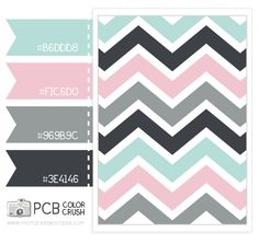 Color and Pattern Crush - 5.15.2013 pink, light aqua, light gray, dark gray - cute for a baby girl