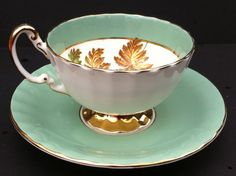 Vintage Aynsley Bone China England Green Tea Cup and Saucer with autumn leaves and Gold Gilt Trim