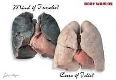 On the left- lungs from a smoker. On the right-lungs from-a non-smoker.