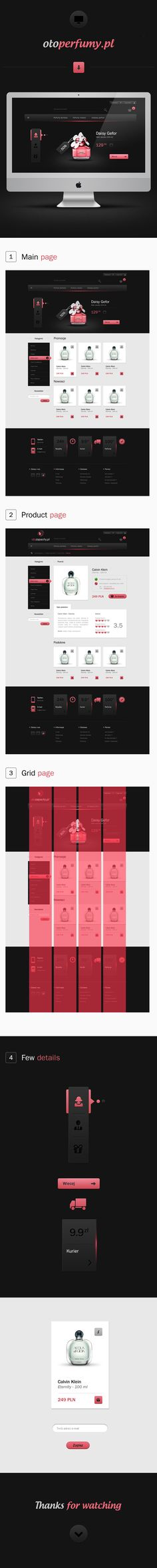 PERFUME SHOP by Michal Parulski, via Behance Gui Interface, User Interface Design, Web Layout, Layout Design, Digital Web, Professional Logo Design, Ui Web, Apps, Photoshop