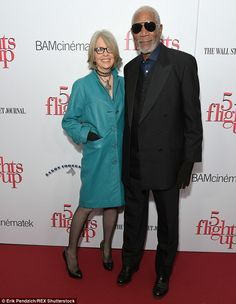 Close co-stars: Diane Keaton and Morgan Freeman showed big grins as they arrived for the New York City premiere of their film 5 Flights Up