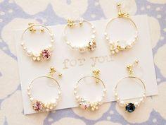 """134*""""for you"""" 6colors ホワイトパールとカラーストーン お花 ゆれるフープ樹脂ノンホールイヤリング"""
