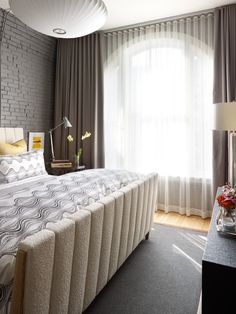 Urban Loft Residence - contemporary - bedroom - other metro - Tom Stringer Design Partners Curtains For Grey Walls, Bedroom Curtains With Blinds, Floor To Ceiling Curtains, Bedroom Windows, Wall Curtains, Sheer Curtains, Floor Lamp, Contemporary Curtains, Modern Curtains
