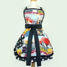 Retro Apron Vintage Hot Rods, Waitresses, Diner, Pinups 1950s Inspired Apron.  Visit & Like our Facebook page! https://www.facebook.com/pages/Rustic-Farmhouse-Decor/636679889706127