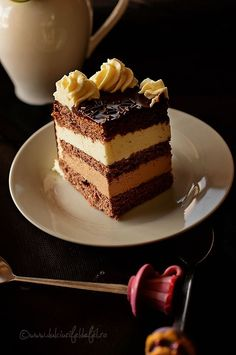 slice cake with chocolate Romanian Desserts, Delicious Deserts, Birthday Cake Decorating, Homemade Cakes, Something Sweet, Yummy Cakes, Tiramisu, Cake Recipes, Sweet Treats