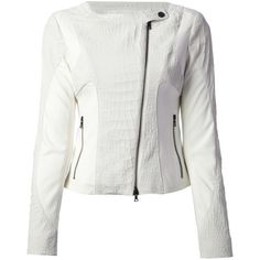 Drome Perforated Lambskin Panel Biker Jacket ($1,149) ❤ liked on Polyvore featuring outerwear, jackets, white, lambskin leather jacket, white jacket, lambskin jacket, drome and perforated motorcycle jacket
