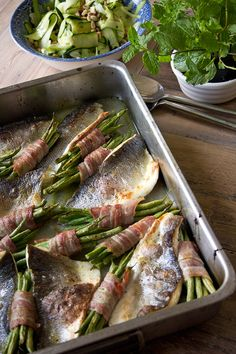 Roast sea bass traybake