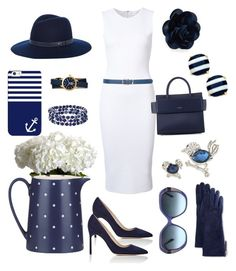 """Classic Navy and White"" by klm62 on Polyvore featuring Tory Burch, Victoria Beckham, Chaps, Givenchy, Kate Spade, Manolo Blahnik, M&Co, Nearly Natural, Casetify and Oscar de la Renta"