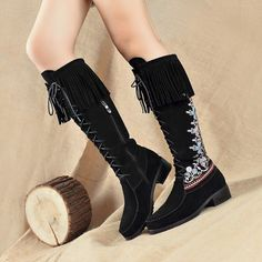 Women Shoe Knee High Boots Tassel Fringel Strappy Embroidered Floral Fur Lining