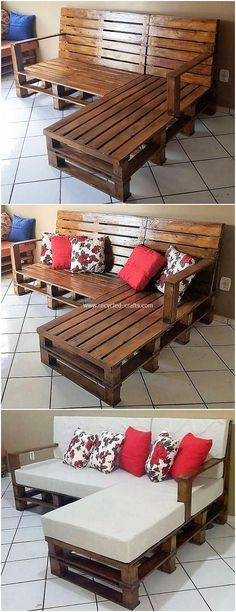 Crafting with Wood Pallets - Wondrous Pallet Creations & Projects: Bring up with something really inspiring in your house through the favourable attractive use of the wood pallet. Pallet Bed Frames, Pallet Wall Shelves, Pallet Couch, Diy Pallet Furniture, Diy Pallet Projects, Wood Projects, Pallet Ideas, Wooden Kitchen Signs, Pallet Closet