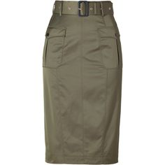 BURBERRY LONDON Aniseed Green Belted Cotton-Blend Pencil Skirt featuring polyvore, women's fashion, clothing, skirts, bottoms, burberry, faldas, brown skirt, high waist knee length pencil skirt, green high waisted skirt, high-waisted skirts and knee length pencil skirt