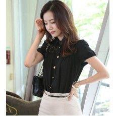 เสื้อลูกไม้ แฟชั่นเกาหลีสวยชีฟองสไตล์เชิ้ตใส่ทำงาน นำเข้า สีดำ - พร้อมส่งMI598 ราคา1100บาท Tops, Women, Fashion, Moda, Fashion Styles, Fashion Illustrations, Woman