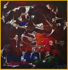 Mapouka Dance. Mixed Media on Canvas by Hesham Malik