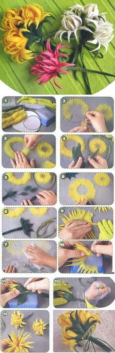 Bouquet of chrysanthemums. A fulling from wool the hands. Felt Flowers, Diy Flowers, Fabric Flowers, Paper Flowers, Nuno Felting, Needle Felting, Paper Quilling Tutorial, Donia, Felt Decorations