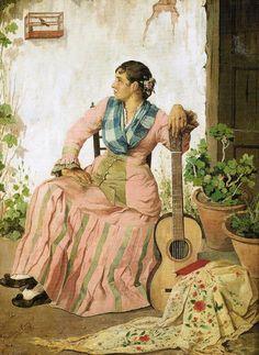 """Manuel Arellano y Campos. ''Mujer con guitarra"""" 1880"""