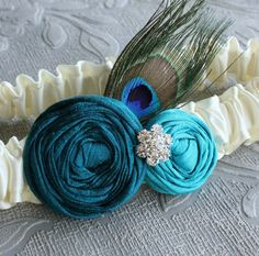 Peacock Plume Garter  Ivory Teal & Turquoise Silk by lolainlace, $32.00
